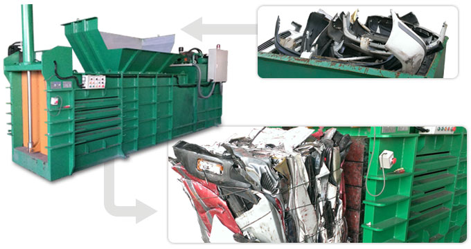Car bumpers, Electronics Products - Large Object Recycling Baler